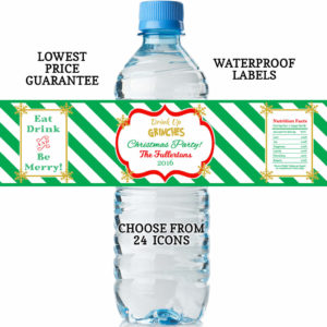 christmas water bottle labels green