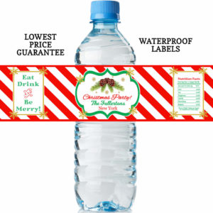 christmas water bottle labels pine cones red