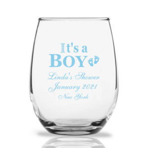 custom wine glasses it's a boy