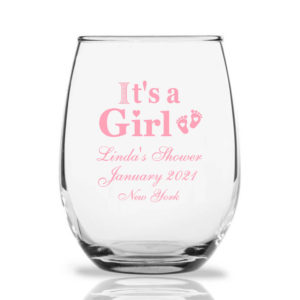 custom wine glasses it's a girl