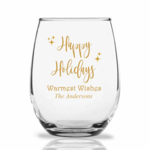 happy holidays wine glass
