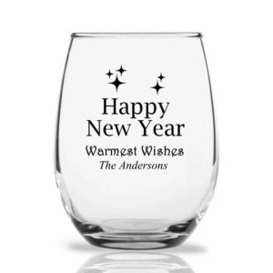happy new year wine glass