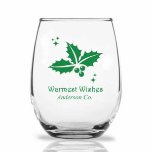 holly berry wine glass