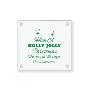 holly jolly christmas coasters
