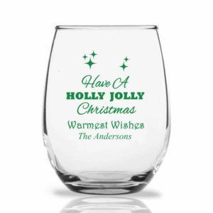 holly jolly christmas wine glass