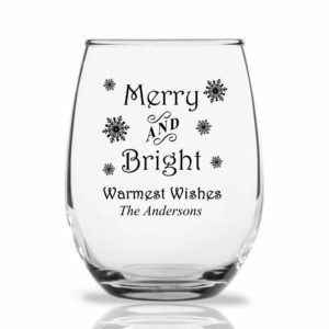 merry and bright wine glass