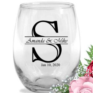 initial monogram wedding-wine-glasses