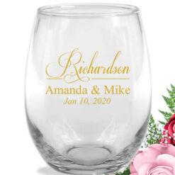 last name script wine glasses