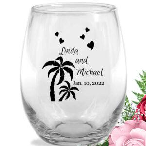 palm trees wine glasses