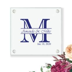 initial monogram wedding coasters