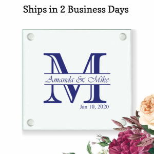 initial monogram wedding coasters