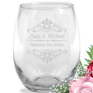scroll wine glasses