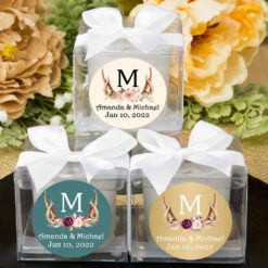 antler monogram floral cube candle