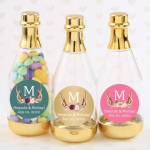 antler monogram floral gold champagne bottle
