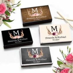 antler monogram floral match boxes