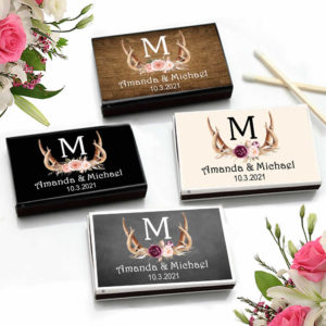 antler monogram floral match boxes