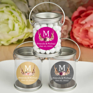 antler monogram floral silver paint cans