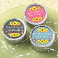 antler sunflower round candle