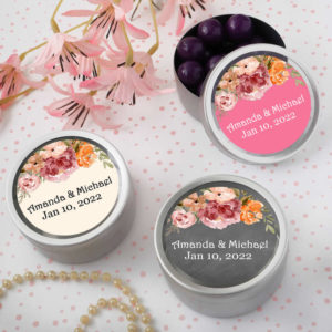 fall floral round silver mint tins