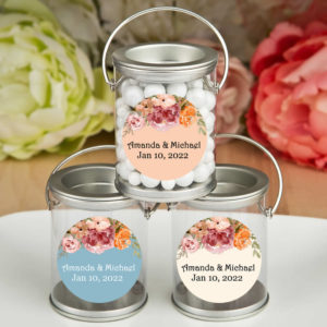 fall floral silver paint cans
