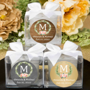 laurel floral monogram cube candle