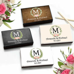 laurel floral monogram matchboxes