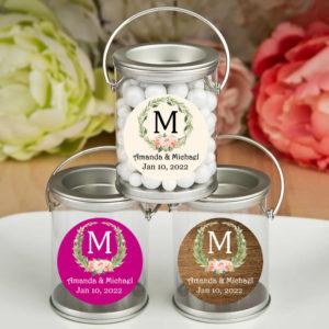 laurel floral monogram silver paint cans