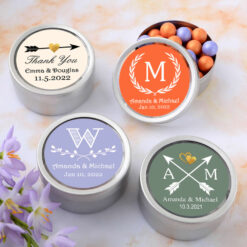 silver round mint tins silhouette designs