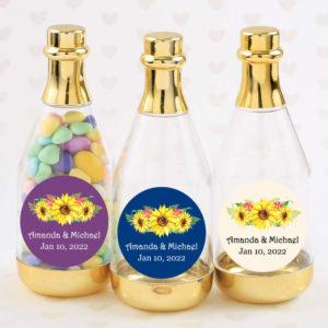 sunflower gold champagne bottles