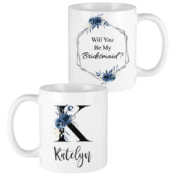 black letter navy flowers bridesmaid mugs