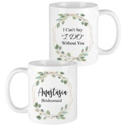 eucalyptus leaves gold frame bridesmaid mugs