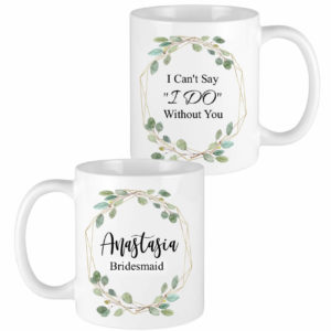 eucalyptus leaves gold frame bridesmaid mugs