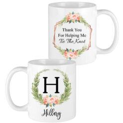 floral laurel letter bridesmaid mugs
