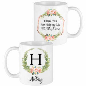 floral laurel letter bridesmaid mugs