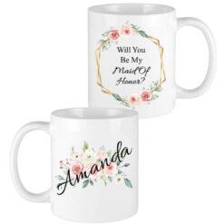 floral name bridesmaid mugs