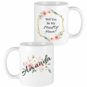 floral name bridesmaid mugs