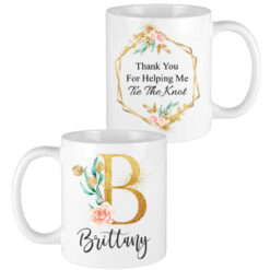 gold floral letter bridesmaid mugs