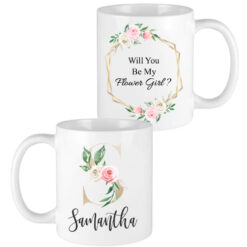 gold letter blush floral bridesmaid mugs