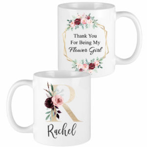 gold letter burgundy floral bridesmaid mugs