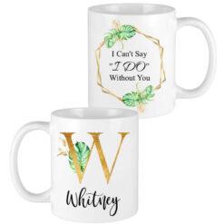 gold tropical letter bridesmaid mugs