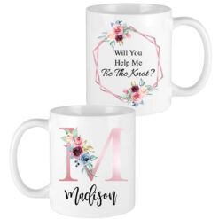 pink floral letter bridesmaid mugs